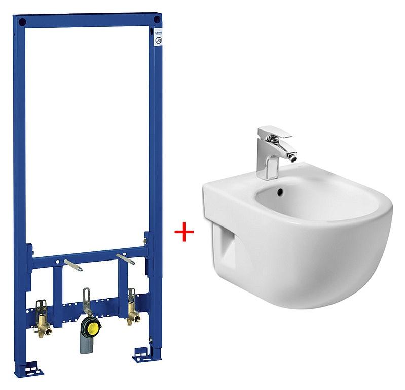 Комплект Биде подвесное Roca Meridian 357245000 + Система инсталляции для биде Geberit Duofix 111.52 сантехника для ванной наборы